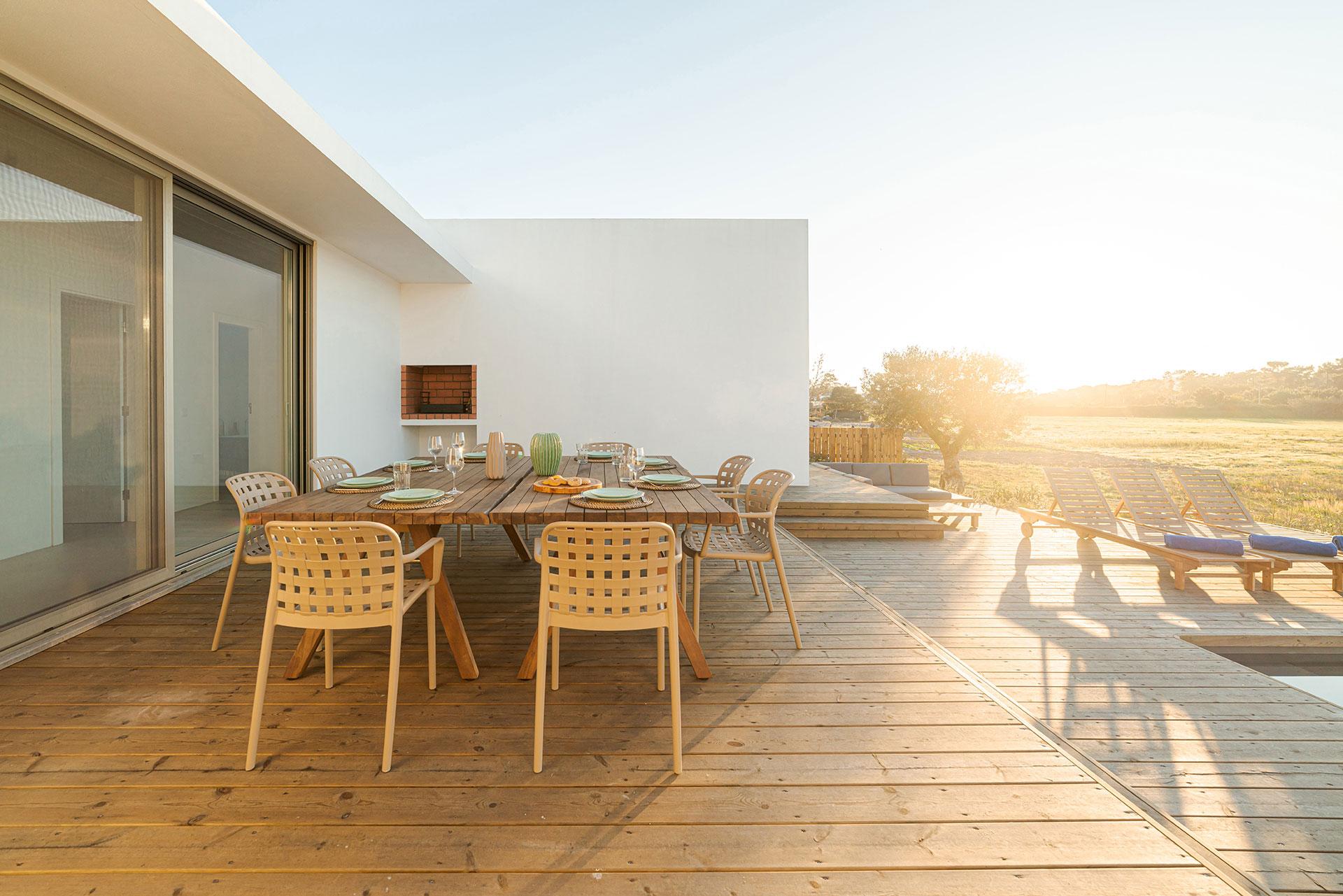 dinner table setting in modern villa