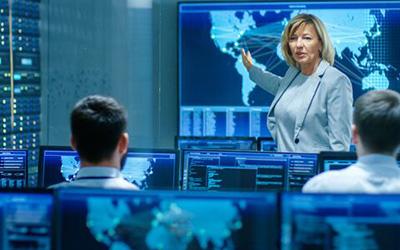 woman explaining digital map
